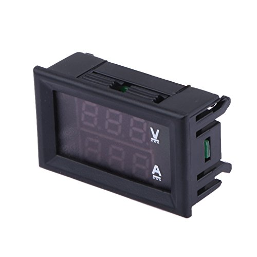 prettygood7 Voltmeter Amperemeter, 100 V, 10 A, Zweifarbig, 3-stelliges Display (Alligator-thermometer)