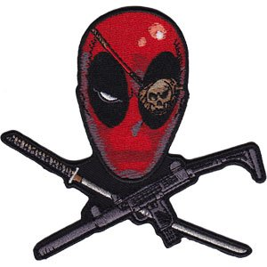 DEADPOOL CROSS, Officially Licensed, Iron-On / Sew-On, Embroidered PATCH - 3.7