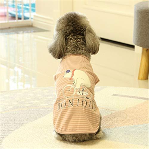 YUNSW Hundebekleidung Frühling Und Sommer Niedliche Baumwolle Hundeweste Dünne Katze Kostüm Teddy Hund Haustier Kleidung Rosa XXL