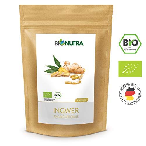 BioNutra® Ingwer-Kapseln Bio 240 x 600 mg, 100% reines Bio-Ingwerpulver (Zingiber officinale), ohne Zusätze, deutsche GMP-Herstellung