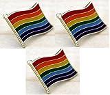 3 x Rainbow Flag LGBT Gay pride pin badges