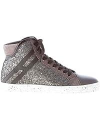 Hogan Rebel Donna R182 Sneaker Alta in Pelle e camoscio Grigio con Inserto  Glitter 48221b15c4c
