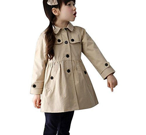 Arshiner Mädchen Übergangsjacke Kids/ Teens Trenchcoat Mantel Jacke mit abnehmenbarer Kapuze Khaki 140 (Trenchcoat Teen)