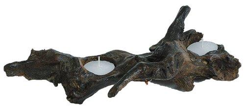 Teakholz-Wurzel mit 2 Teelicht-Haltern