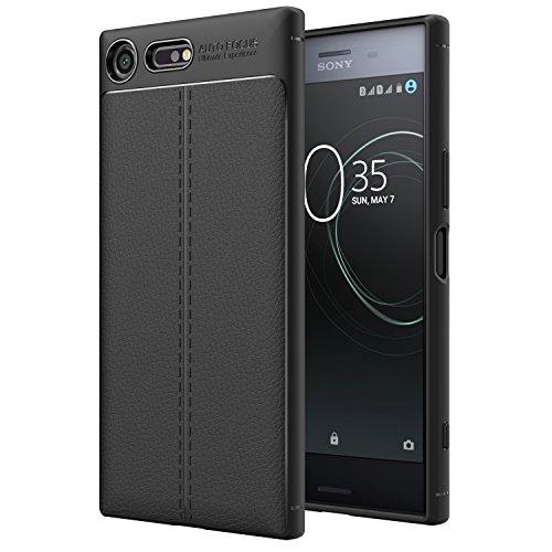 MoKo Sony Xperia XZ Premium Funda - Textura de Cuero de la PU Flexible TPU Gel Parachoques Cubierta Protectora Antichoque contra Rasguño Contraportada para Sony Xperia XZ Premium 2017 5.5 Smartphone, Negro