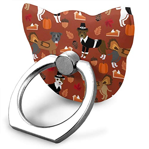 best& Pitbull Thanksgiving - Cute Dog, Dogs, Turkey, Holiday, Fall Autumn, Dogs - Rust_19778 360 Degree Swivel Creative Ring Buckle Bracket Multi-Functional Ring Bracket Stand for Universal Phone -