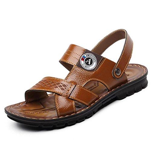 SHANGXIAN Herren Hausschuhe & Flip-Flops Comfort Leder Schuhe Casual flachen Ferse hellbraun gelb schwarz Walking , yellow , 42