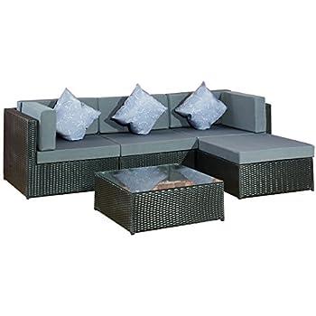 Rattan lounge schwarz grau  Amazon.de: Gartenmoebel Gartenset Bergen II schwarz-grau aus Stahl ...