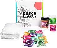 Waltz 7 Bad Geschenkset, 10 Geurbommen, 2 Douchegels, 1 Koffie Lichaamsscrub, 1 Zachte Handdoek, 1 Netzakje, Z