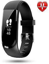 Tracker d'activité, Letscom Nouveau Bracelet Connecté Sport Fitness avec Moniteur de Fréquence Cardiaque - Montre Connectée IP67 Etanche OLED écran Tactile - Bluetooth 4.0 Compatible avec Android et iPhone