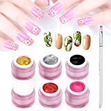 Vrenmol 6 colores remojo UV LED Gel Nail Art Paint Draw Painting Nail Gel Polish acrílico Tiper Dibujo Gel Manicura DIY 8g + Free Painting Pen