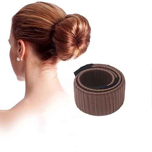 Lumanuby Damen Stirnband Mode Haarstyling Tool Haar Zubehör Donut Hair Bun Maker Perfekt für lange Haare, Braun Farbe