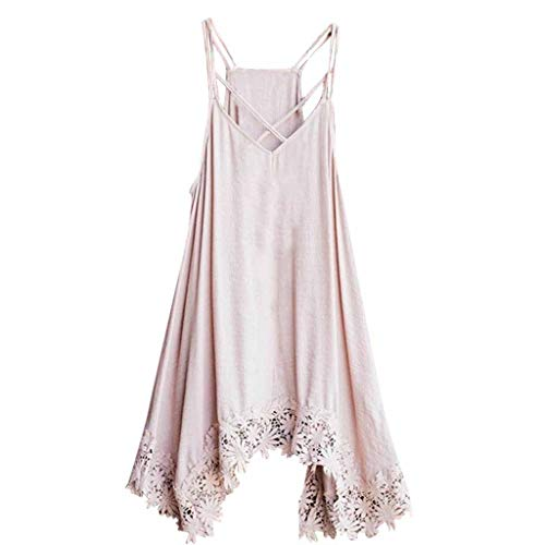 Darringls Damen Kleider, Frauen Elegant Volltonfarbe Minikleid Sommer Sexy Mode Schultergurt Spitzenbesatz Dresses for Women Sommer Strang ärmellose Sling Weste Mini Kleid Tops -