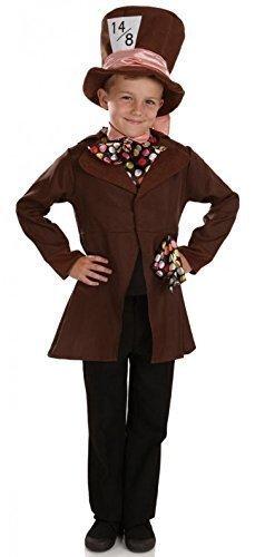 utmacher Alice im Wunderland büchertag Halloween Kostüm Kleid Outfit 4-12 Jahre - Braun, Braun, 6-8 years (Verrückter Hutmacher Herren Kostüme)
