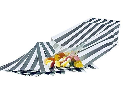 We Can Source It Ltd - Grau & Weiß Pick und Mix Süßigkeitsstreifen Papier Süßigkeiten/Popcorn Taschen Recyclebar und Biologisch Abbaubar 4