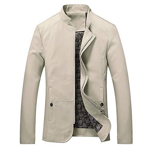 JUSTSELL Langarmshirts Mäntel Herren Herbst Winter,Männer Einfarbig Outwear Rundhalsausschnitt Jacke Reißverschluss Coat Slim Hüftslip Mantel(M-5XL)