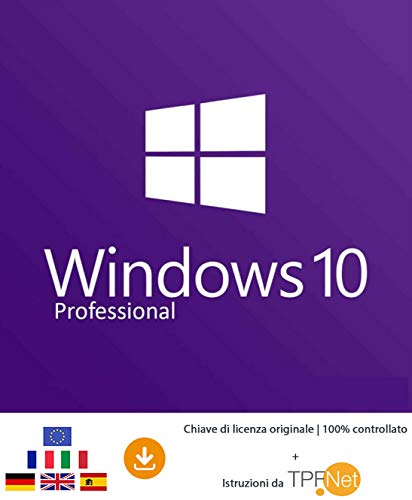 MS Windows 10 Pro 32 bit e 64 bit - Chiave di Licenza Originale per Posta e E-Mail + Guida di TPFNet - Spedizione max. 60min