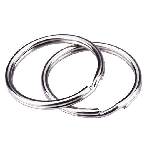 REIDA® Schlüsselringe 25mm 100 Stück vernickelter Silberstahl, abgerundete Kanten, runder Schlüsselbandring, Schlüsselanhänger-Ring-Clips (25mm 100 Stück) (Fun-auto-zubehör)