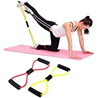 FEDUS Chest Expander Resistance 8 Pulling Rope Bands Muscle Workout Stretcher Shoulder Exerciser Fitness Home Gym Equipment Latex Tube Hand Wrist Arm Gripper Exercise Sports Yoga-Pilates-Multicolor