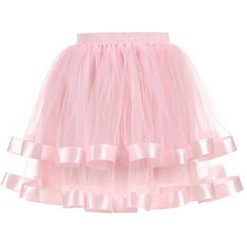 Lange Gaze Rock (Kanpola Damen Gefaltete Gaze kurzer Rock Adult Tutu Dancing Skirt Röcke (M /Gr 38, Rosa))