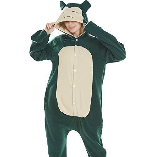 Fleece Animal Pyjamas Unisex Cartoon Einteiliger Pyjama Charakter Halloween Kostüm Green-M ()