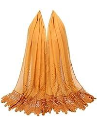 c950da06785c Rovinci l automne été Mode Femmes Dames Couleur Unie Dentelle Impression  Diamant Coton Écharpe Musulman