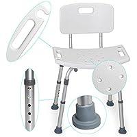 MedX5 taburete de ducha con respaldo de altura regulable, silla para bañarse, taburete para bañarse, carga máxima: 135 kg con travesaños ADICIONALES