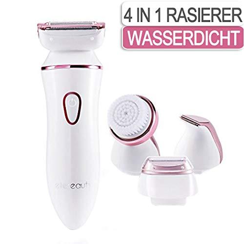 Damenrasierer, 4 in 1 Elektrorasierer Damen Kabelloser Elektrischer Rasierer Nass und Trocken für...
