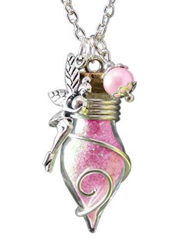 Katharina Fairytale - Phiole der Lichtfee - Cadena con amuleto de la suerte de frasco con polvo de hada de luz para mujer, brilla en la oscuridad, color rosa