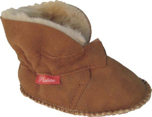 Plateau Tibet - VERITABLE laine d'agneau Bottines Chaussures Chaussons en cuir souple pour bébé garçon fille enfant - 4 COULEURS