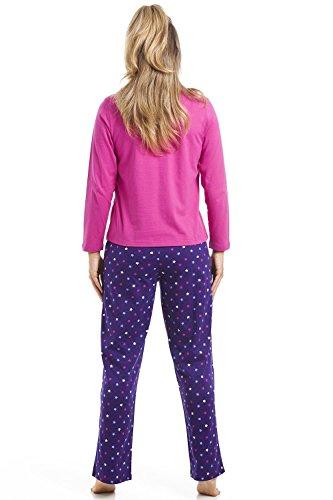 Camille - Ensemble de pyjama pour femme - manches longues et pantalon - imprimé étoiles - rose et violet Violet