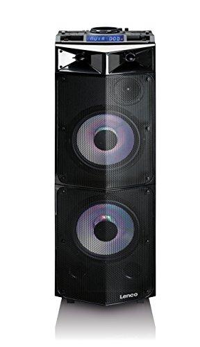 Lenco PMX-300 Mobile PA-Anlage mit Akku, DJ-Mixer und Licht-Effekten (Bluetooth, USB, UKW-Radio, Gitarren-Anschluss, Mikrofon) 250 Watt RMS, schwarz 850 Bluetooth