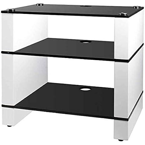 HiFi Soporte, Hi-Fi rack, AV Audio Soporte. Color blanco brillante con tres estantes de cristal,