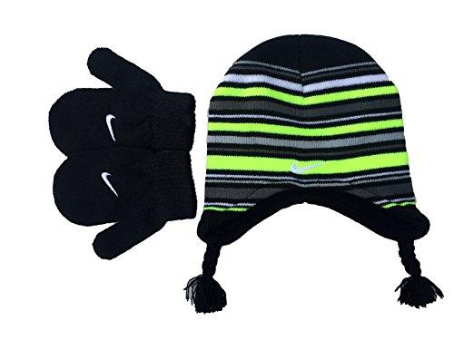 Nike Baby Boy 's Knit gestreift Mütze und Fäustlinge Set (12/24m, Schwarz/Volt) - Und Boy-mütze Fäustlinge Baby