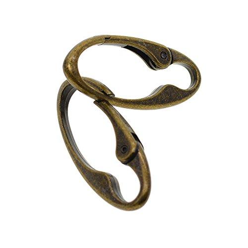 Sharplace 2 Vintage Bronze Parts Carabiner Oval Spring Hooks Clip Keychain DIY