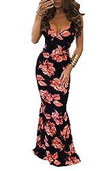 Minetom Women Summer Elegant V-Neck Sleeveless Flower Printed Bodycon Long Maxi Dress Ladies Sexy Skinny Gown Cocktail Party Ball