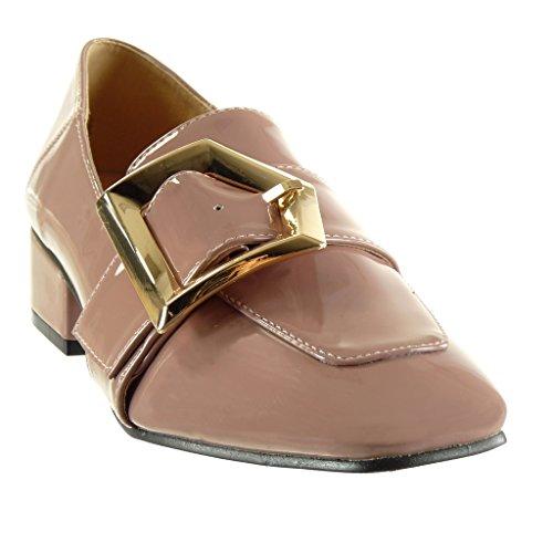 Angkorly - Chaussure Mode Mocassin slip-on femme verni boucle lanière Talon haut bloc 4 CM Rose
