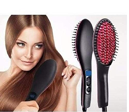 WILLSBURY Ceramic Professional Electric Hair Straightener Brush with Temperature Control and Digital Display