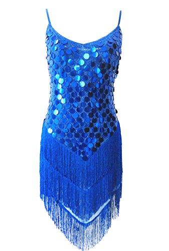 URqueen Women Sequins Gowns Rhythm Ballroom Latin Dance Dress Dark Blue