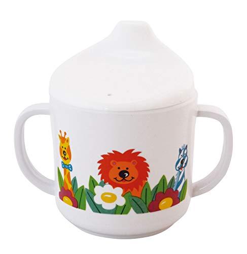Bieco 04000141 Schnabeltasse Zoo, Trinkbecher aus Melamin, Tasse zum Trinken lernen für Kleinkinder, weiß Trinken Tasse