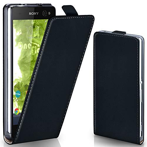 moex Sony Xperia C4 | Hülle Schwarz 360° Klapp-Hülle Etui Thin Handytasche Dünn Handyhülle für Sony Xperia C4/C4 Dual Case Flip Cover Schutzhülle Kunst-Leder Tasche