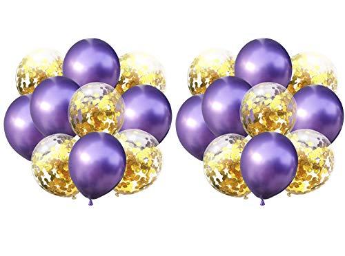 Yalulu 20 Stück 12 Zoll Metallisch Latex Ballons Konfetti Ballon Party Ballon für Hochzeit Geburtstag Baby-Dusche Party Dekoration (Lila-Gold) (Dekorationen Gold Lila Und)