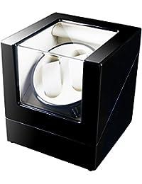 FIRWAY(TM) Coffret Watch Winder Remontoir pour 2 Montres Automatiques (ultra-silencieux, 4 programmes, 2 Support Amovible en Cuir) (2+0, Noir + Blanc))