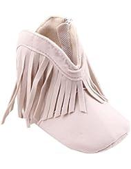 Malloom Niño pequeño para bebé recién nacido niña zapatos botas suela suave Prewalker borla