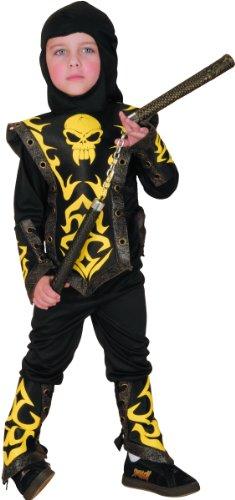 Generique - Ninja Kostüm in schwarz-gelb für Jungen 98/104 (3-4 Jahre)