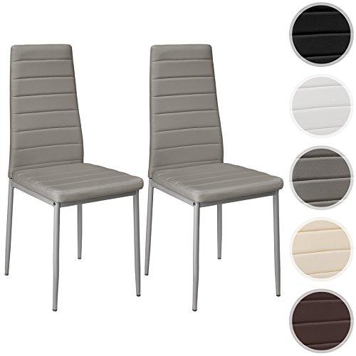 TecTake Set di sedie per sala da pranzo 41x45x98,5cm - disponibile in diversi colori e quantità - (2x Grigio | No. 401841)