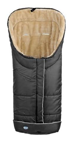Urra 820-0000-22 Fußsack Deluxe mit Fellimitat, schwarz/beige