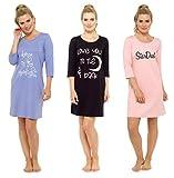 Nachthemd Sleepshirt Damen Bigshirt bedruckt 3/4 Arm (36/38, Schwarz)