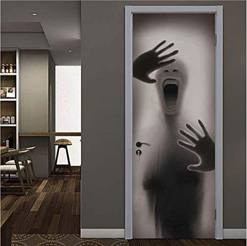 host 3D Door Sticker Door Station Bar Elevator Hall Subway Stairs Black White Pulling Door Home Decor Paste ()
