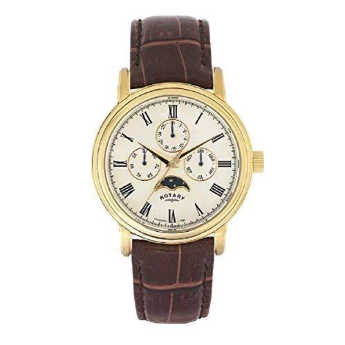 Hommes Rotary Analogique Quartz Moonphase Jour Montre Date Bracelet Cuir Marron GS00124/03